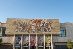 Entrance to Tirana`s National Museum of History with The Albanians Mural