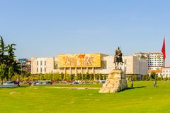 Tirana, Albania. SEPTEMBER 23, 2013: Skanderberg monument on the Skanderbeg Square, the main plaza named in 1968 after the Albanian national hero Skanderbeg royalty free stock photography