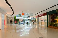 Interior of modern shopping center Toptani, Tirana, Albania. TIRANA, ALBANIA - SEPTEMBER 6, 2017: Unknown people visit modern shopping center Toptani, Tirana Stock Images