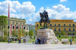 Monument to Skanderbeg on Scanderbeg Square, Tirana, Albania stock image