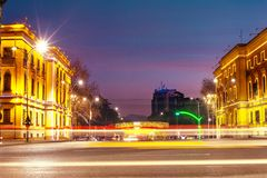 Tirana historical buildings in city center. Sunset view to Skanderbeg square and its ministerial buildings, captured with long exposure Royalty Free Stock Photos