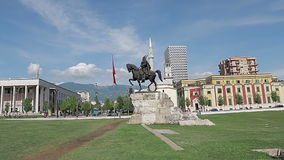 Tirana Skanderbeg Square stock video footage