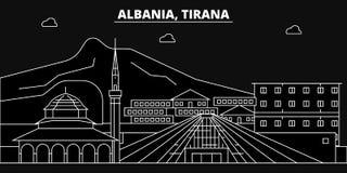 Tirana sylwetki linia horyzontu Albania, Tirana wektorowy miasto -, albanian liniowa architektura, budynki Tirana podróż Obraz Stock