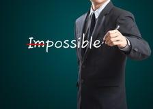 Tirando e mudando a palavra impossível ao eu sou possível Fotografia de Stock