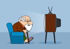 Tirando a pessoa idosa olha a televisão ilustração do vetor