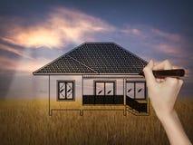 Tirando uma casa ideal no fundo da natureza Imagem de Stock Royalty Free