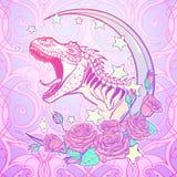 Tirannosauro che rugge con la struttura delle rose e della luna Fotografia Stock