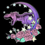 Tirannosauro che rugge con la struttura delle rose e della luna isolata sul nero illustrazione vettoriale