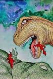 Tirannosauro T-Rex dinosaur Ritratto Acquerello bagnato di verniciatura su carta Arte ingenuo Acquerello del disegno su carta illustrazione di stock