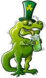Tiranosaurio Rex del día de Patricks del santo ilustración del vector