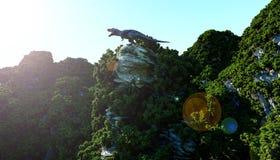 Tiranosaurio Rex en los acantilados rocosos naturaleza prehistórica representación 3d ilustración del vector