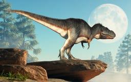 Tiranosaurio Rex en un acantilado fotografía de archivo