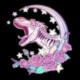 Tiranossauro que ruje com o quadro da lua e das rosas isolado no preto Fotos de Stock