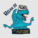 Tiranossauro Rex do dinossauro T gráfico vector o projeto para a impressão do t-shirt e o fato do bordado ilustração stock