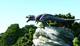 Tiranossauro Rex nos penhascos rochosos natureza pré-histórica rendição 3d ilustração royalty free