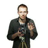Tirante con la retro macchina fotografica Fotografia Stock Libera da Diritti