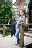 Tirante degli amanti e una ragazza per la camminata Fotografia Stock Libera da Diritti