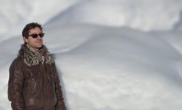 Tirante e neve attraenti. Grande copyspace fotografia stock libera da diritti