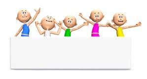 Tiranti felici di Toon, bandiera bianca illustrazione vettoriale