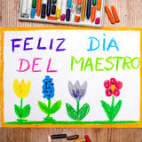 Tirar - cartão espanhol do dia do ` s do professor com ` de DÃa del maestro do ` das palavras ilustração royalty free