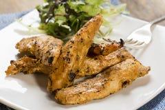 Tiras asadas a la parrilla del pollo con la ensalada lateral Fotografía de archivo libre de regalías