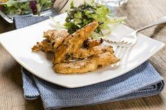 Tiras asadas a la parrilla del pollo con la ensalada lateral Foto de archivo libre de regalías