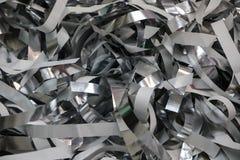 Tiras de prata da folha e do papel após a mostra de papel das crianças imagens de stock royalty free