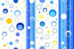Tiras e círculos azuis sem emenda do amarelo do teste padrão abstrato do fundo Fotos de Stock Royalty Free