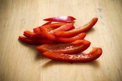 Tiras frescas de peppe rojo orgánico Imagen de archivo