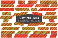 Tiras verdes rojas de Cane Washi Tape Isolated Vector del caramelo de la Navidad Fotografía de archivo