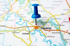 Tiraspol on map. With push pin Stock Photos
