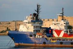Tirate dell'oceano in grande porto, Malta Fotografie Stock Libere da Diritti