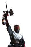 Tiratore di Paintball che tiene una pistola immagine stock libera da diritti