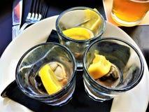 Tiratori dell'ostrica con il limone Fotografia Stock Libera da Diritti