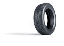 Tire. 3d render illustration of a car wheel tire over white Royalty Free Stock Image