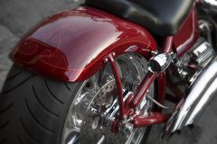 Tire. Motorcycle fender chrome. seat, speed, freedom, red Stock Images