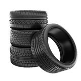 Tire. S stacked up and isolated on white background Royalty Free Stock Photo