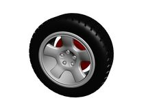 Tire with alloy rim. Illustration of tire with alloy rim Royalty Free Stock Photo