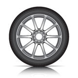 Tire on alloy wheel. Alloy wheel and tire on white background vector illustration