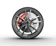 Tire and alloy wheel - 3d render. Tire and alloy wheel on the white background - 3d render Stock Photo