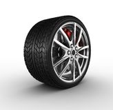 Tire and alloy wheel - 3d render. Tire and alloy wheel on the white background - 3d render Royalty Free Stock Photography