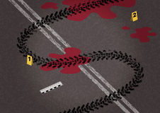 Tire on asphalt and road markings in the form of dollar. Stock Image