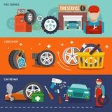 Tire banner set Royalty Free Stock Photos