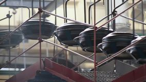 Conveyor with tires at factory. Tires production. stock footage