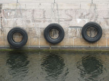 Tire boat bumpers Stock Images