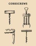 Tire-bouchons tirés par la main de vecteur réglés Rétro collection d'illustrations de différentes rotations dans le style de croq Image libre de droits