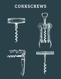 Tire-bouchons tirés par la main de vecteur réglés Rétro collection d'illustrations de différentes rotations dans le style de croq Photographie stock