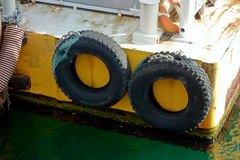 Tire for bridging. Tire cushion for ship`s shore Stock Images
