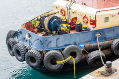 Tire Bumpers on Tugboat Stock Photo