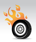 Tire burning. Red orange flames, fast car Stock Photos